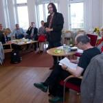 LO-Tidningens kulturredaktör John Swedenmark modererade samtalet med Aino Trosell och Bengt Eriksson.