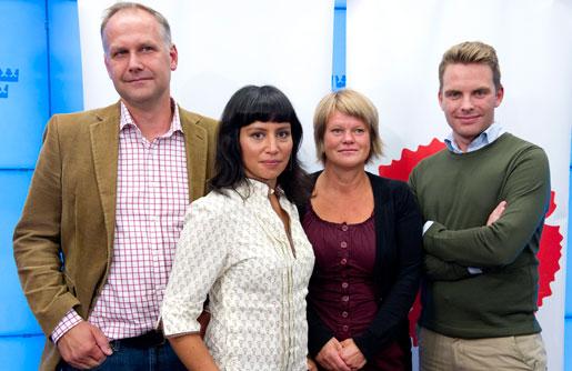Jonas Sjöstedt, Rossana Dinamarca, Ulla Andersson och Hans Linde kandiderar till partiledarposten för Vänsterpartiet.
