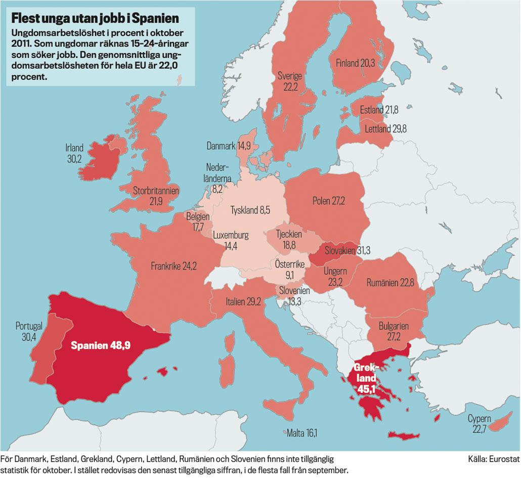 Flest unga utan jobb i Spanien