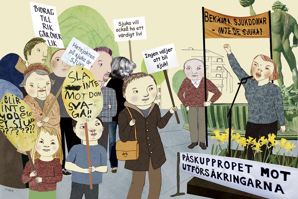 Protesterna mot utförsäkringar av sjuka nådde kanske sin kulmen påsken 2011, då manifestationer ordnades över hela landet.