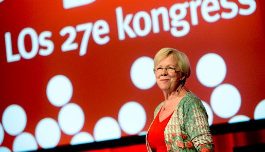 LO:s avgående ordförande Vanja Lundby-Wedin inledningstalar vid öppnandet av Lands Organisationens 27:e kongress på Folkets Hus i Stockholm.
