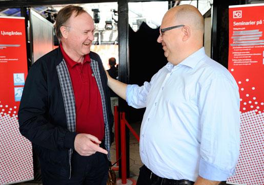 Urban Bäckström och Karl-Petter Thorwaldsson i Almedalen.