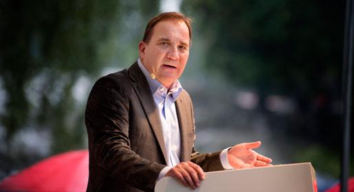Socialdemokraternas partiledare Stefan Löfven håller sitt sommartal i Vasaparken.
