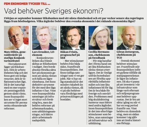 Fem ekonomer tycker till. Vad behöver Sveriges ekonomi?