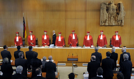 Domarna i den tyska federala förvaltningsdomstolen i Karlsruhe samlas.