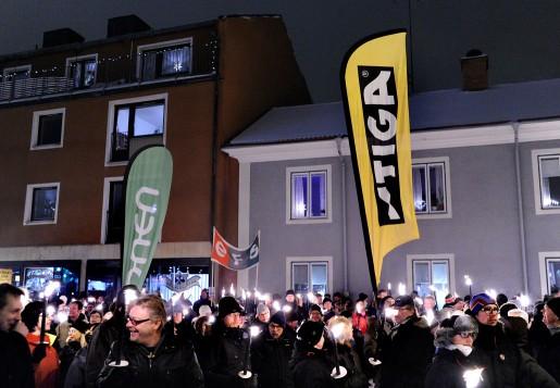 Manifestation i Tranås mot Stigas varsel.