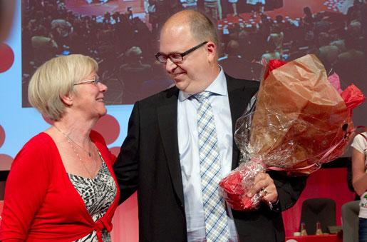 LO:s ordförande Karl-Petter Thorwaldsson och förre ordföranden Wanja Lundby-Wedin.