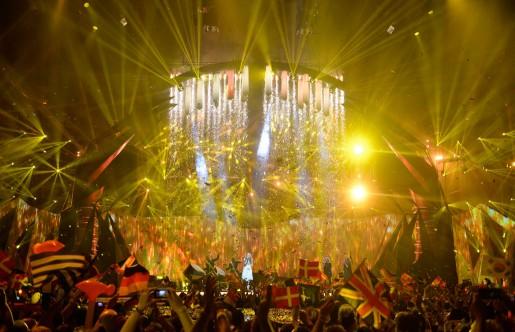 Danmarks Emmelie De Forest framför bidraget Only teardrops i lördagens final i Eurovision Song Contest i Malmö Arena.