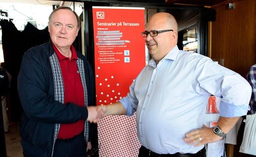Urban Bäckström och Karl-Petter Thorwaldsson debatterade i Almedalen 2012.