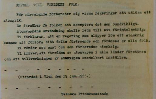 Uppropet som Einar Norrman skrev på och därför petades som LO-ordförande.