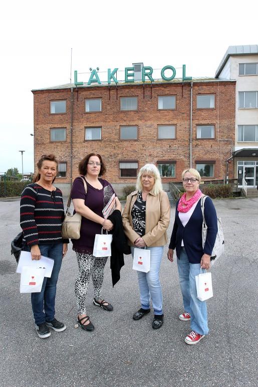 Tillsammans har de jobbat i 132 år på fabriken: Helene Andersson, 52,  34 år på fabriken, Elisabeth Ehn, 45, 25 år på fabriken, Gunvor Granholm, 57, 39 år, och Lea Sorvo, 61, med 34 anställningsår.