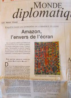 """""""Amazon — skärmens baksida"""", artikel av Jean-Baptiste Malet i Le Monde Diplomatique, november 2013."""