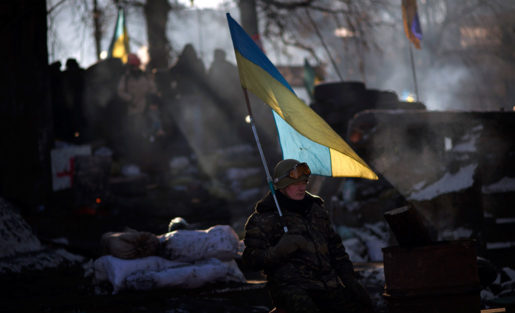 Protesterande i Kiev, Ukraina.