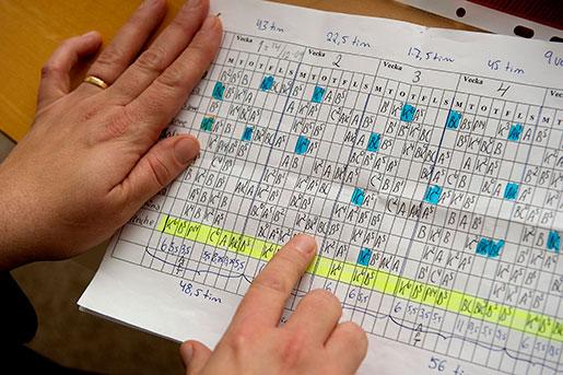 Schema för undersköterskor på ett äldreboende. Många jobbar ofrivillig deltid. Foto: Lars Hedelin