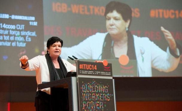 Sharan Burrow återvaldes som generalsekreterare för världsfacket IFS. Foto: Horst Wagner