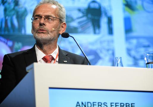 Anders Ferbe talar på IF Metalls kongress i Stockholm. Foto: Per Larsson