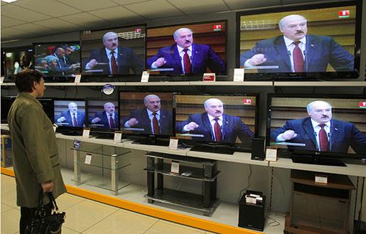 Kritiker ser ishockey-VM i Vitryssland som en ångande orgie i propaganda för diktatorn Aleksandr Lukasjenko. Foto: Sergei Grits