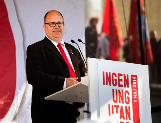 LO:s ordförande Karl-Petter Thorwaldsson i Göteborg i dag. Foto: Thomas Johansson
