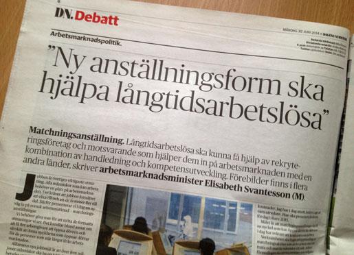 Arbetsmarknadsministerns inlägg på DN Debatt i dag ifrågasätts av Svenskt Näringsliv.