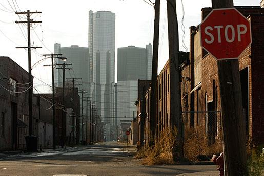 Utsikt mot GM:s högkvarter i Detroit, Michigan. Foto: Paul Sancya