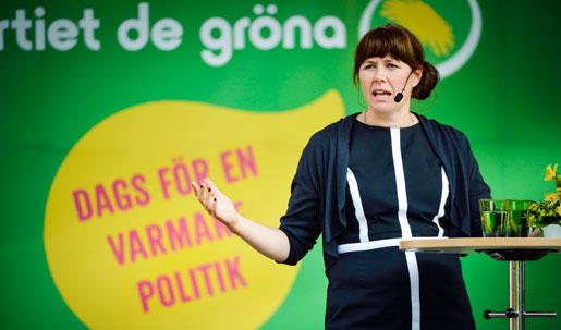 Åsa Romsons tal i Almedalen var grönt och skönt men klassfrågorna försvann. Foto: Henrik Montgomery