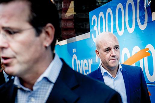 Anders Borg och Fredrik Reinfeldt. Foto: Magnus Hjalmarson Neideman