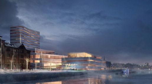 """En arkitektskiss över kommunens nya skrytbygge, kulturhuset Väven, """"en plattform för kultur och upplevelser"""". Huset ska invigas i november."""