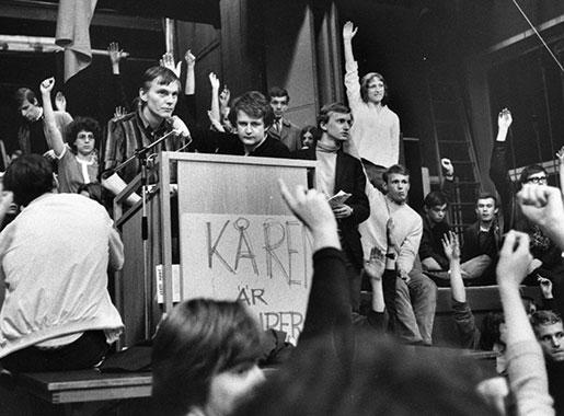 Stämningsbild från ockupationen av kårhuset på Stockholm universitet 1968. Foto: Pressens bild