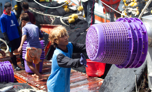 Walk Free räknar också in offer för människohandel som arbetar under slavliknande förhållanden i sin statistik.  Thailand kritiserades i fjol för hur burmesiska migrantarbetare i landet utnyttjas och misshandlas inom fiskeindustrin. Foto: Sakchai Lalit