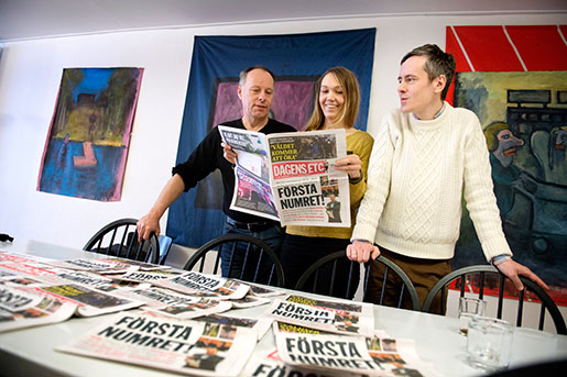 Johan Ehrenberg, Maria Holm och Andreas Gustavsson på Dagens ETC. Foto: Jessica Gow