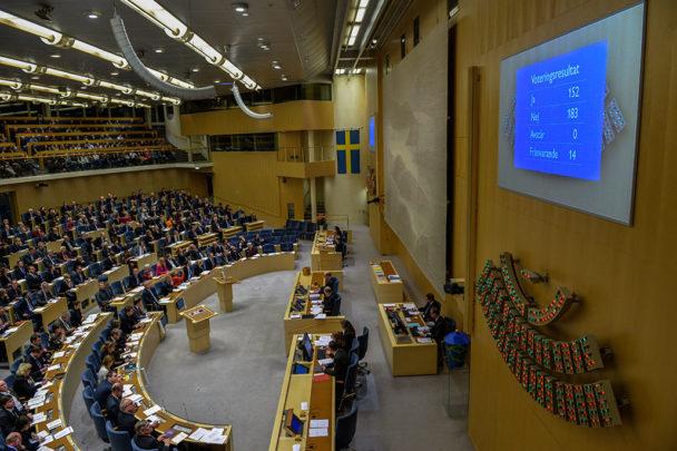 Regeringens budget föll i riksdagen då Sverigedemokraterna röstade på alliansens budgetförslag. Foto: Henrik Montgomery