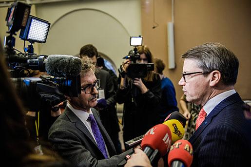 På en presskonferens i dag berättade Hägglund om sina planer på att avgå som partiledare för KD. Att han skulle avgå avslöjade han själv på Twitter, tre minuter för presskonferensen. Foto: Marc Femenia