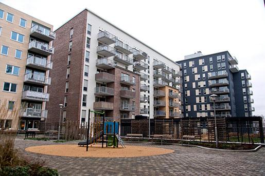 Motsatsen till social housing: Här kostar en ett 8 000 kronor. I området Kvillebäcken som har ett par år på nacken gick uthyrningen trögt i början. Hyrorna är bland de högsta i Göteborg. Foto: Adam Ihse