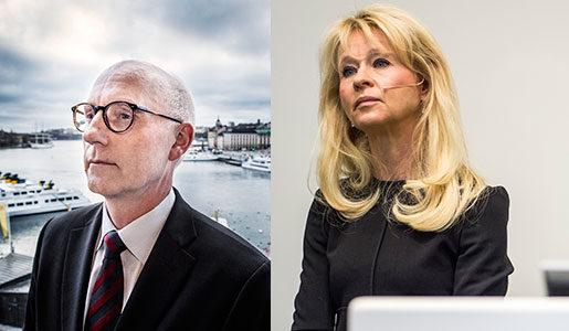 Handelsbankens vd Per Boman och SEB:s vd Annika Falkengren. Foto: Tomas Oneborg och Pontus Lundahl