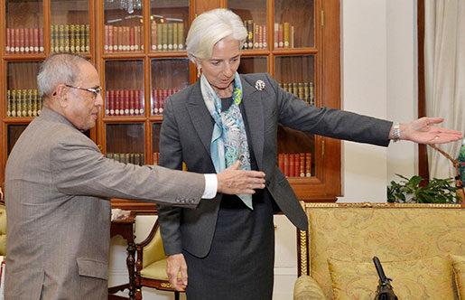Indiens president Pranab Mukherjee och IMF-chefen Christine Lagarde. Foto: AP