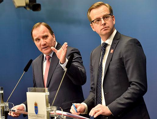 Statsminister Stefan Löfven och närings- och innovationsminister Mikael Damberg. Foto: Jonas Ekströmer