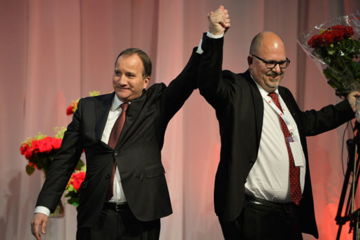 Stefan Löfven och Karl-Petter Thorwaldsson. Foto: Henrik Montgomery