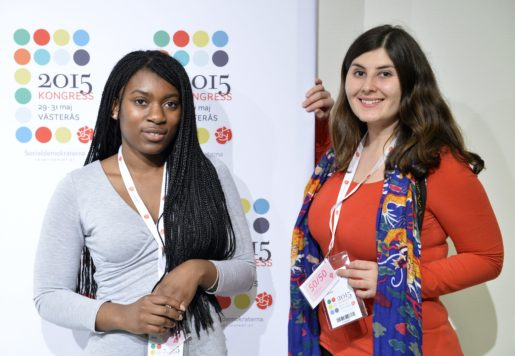 Solange Bayibsa och Dinka Jasarevic kämpar för likadelad föräldraförsäkring. Foto: Henrik Motgomery