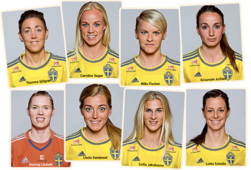 Några av stjärnorna i landslaget. (Klicka på bilden för att se den i större format)