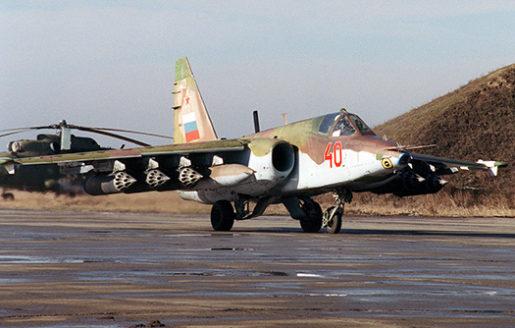 Ett ryskt stridsplan av typen Su-25. Bilden är en arkivbild tagen i Tjetjenien. Foto: AP/TT