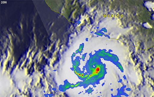 """Orkanen """"Patricia"""" på väg mot Mexikos stillahavskust. Foto: Nasa"""