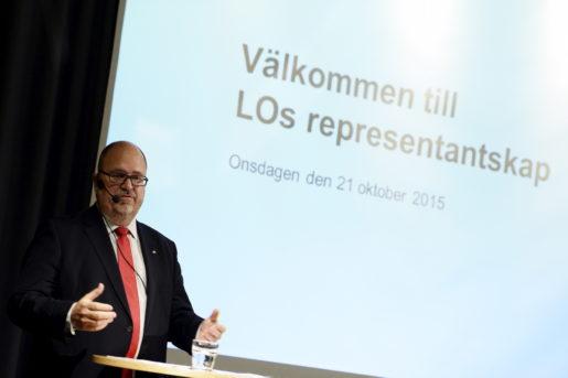 STOCKHOLM 20151021 LO:s ordfˆrande Karl-Petter Thorwaldsson ˆppnar LO:s representantskap. Foto: Pontus Lundahl / TT / kod 10050