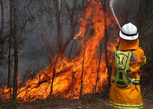 A firefighter battles a blaze burning in the Sydney suburb of Pittwater Saturday, Jan. 19, 2013. Firefighters are battling scores of wildfires in southeastern Australia as hot, dry and windy conditions are combining to raise the threat. (AP Photo/Glenn Nicholls)