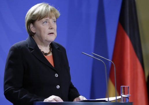 German Chancellor Angela Merkel speaks during a statement on the death of former German Chancellor Helmut Schmidt in Berlin, Germany, Tuesday, Nov. 10, 2015.  Schmidt died today at the age of 96-years. (AP Photo/Michael Sohn)