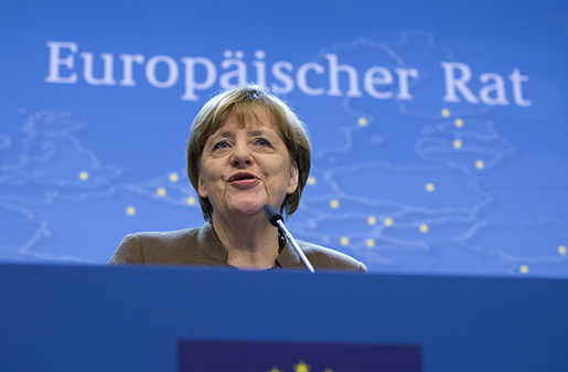 German Chancellor Angela Merkel speaks during a media conference at the conclusion of an EU summit in Brussels on Friday, Dec. 18, 2015. European Union leaders reconvened in Brussels for the final day of their year-end summit with a wide-ranging agenda including how to build greater economic unity among their 28 countries and stepping up the fight against extremism. (AP Photo/Virginia Mayo)