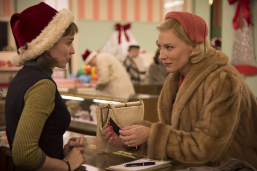 """This photo provided by The Weinstein Company shows, Rooney Mara, left, as Therese Belivet, and Cate Blanchett, as Carol Aird, in a scene from the film, """"Carol."""" The 73rd annual Golden Globe nominations in film and television categories will be announced Thursday morning, Dec. 10, 2015, in Beverly Hills, Calif. (Wilson Webb/The Weinstein Company via AP)"""