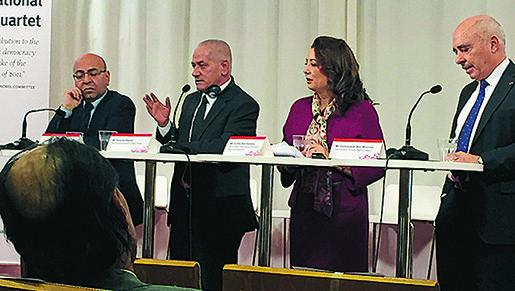 Från vänster: Mohamed Fadhel Mahfoudh, det nationella advokatsamfundet, Hassine Abassi, fackföteningsrörelsen UGTT, Ouided Bouchamaoui, arbetsgivarna UTICA och Abdessatar Ben Moussa människorättsorganisationen LTDH. Foto: LIv Beckström