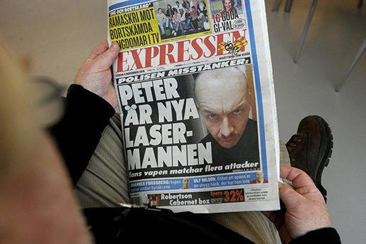 Expressens förstasida när Mangs hade gripits.Foto: Janerik Henriksson