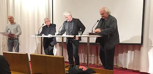 Från vänster: Claes-Mikael Jonsson, Carl-Henric Grenholm, Torbjörn Johansson och Göran Greider. Foto: Malin Wernström