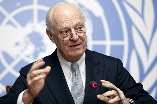 UN Special Envoy of the Secretary-General for Syria Staffan de Mistura informs the media on the Intra-Syrian Talks, during a press conference, at the European headquarters of the United Nations in Geneva, Switzerland, Monday, Jan.  25, 2016. (Salvatore Di Nolfi/Keystone via AP)